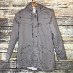 Roxy jacket canvas coat fleece lined warm Hood S